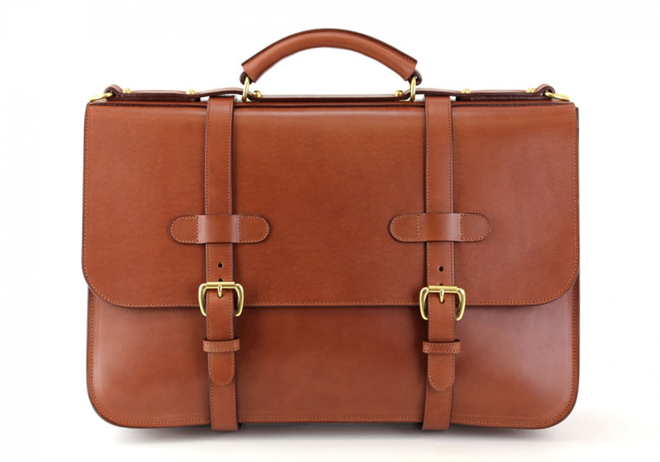 Chestnut Harness Belting Leather English Briefcase Frank Clegg Made In Usa 3