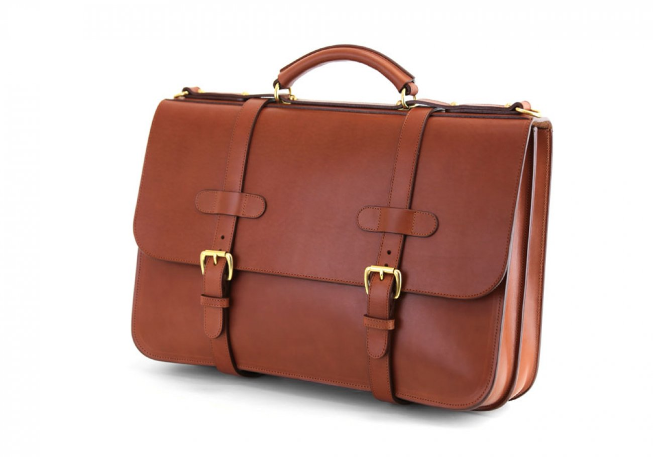 Chestnut Harness Belting Leather English Briefcase Frank Clegg Made In Usa 4