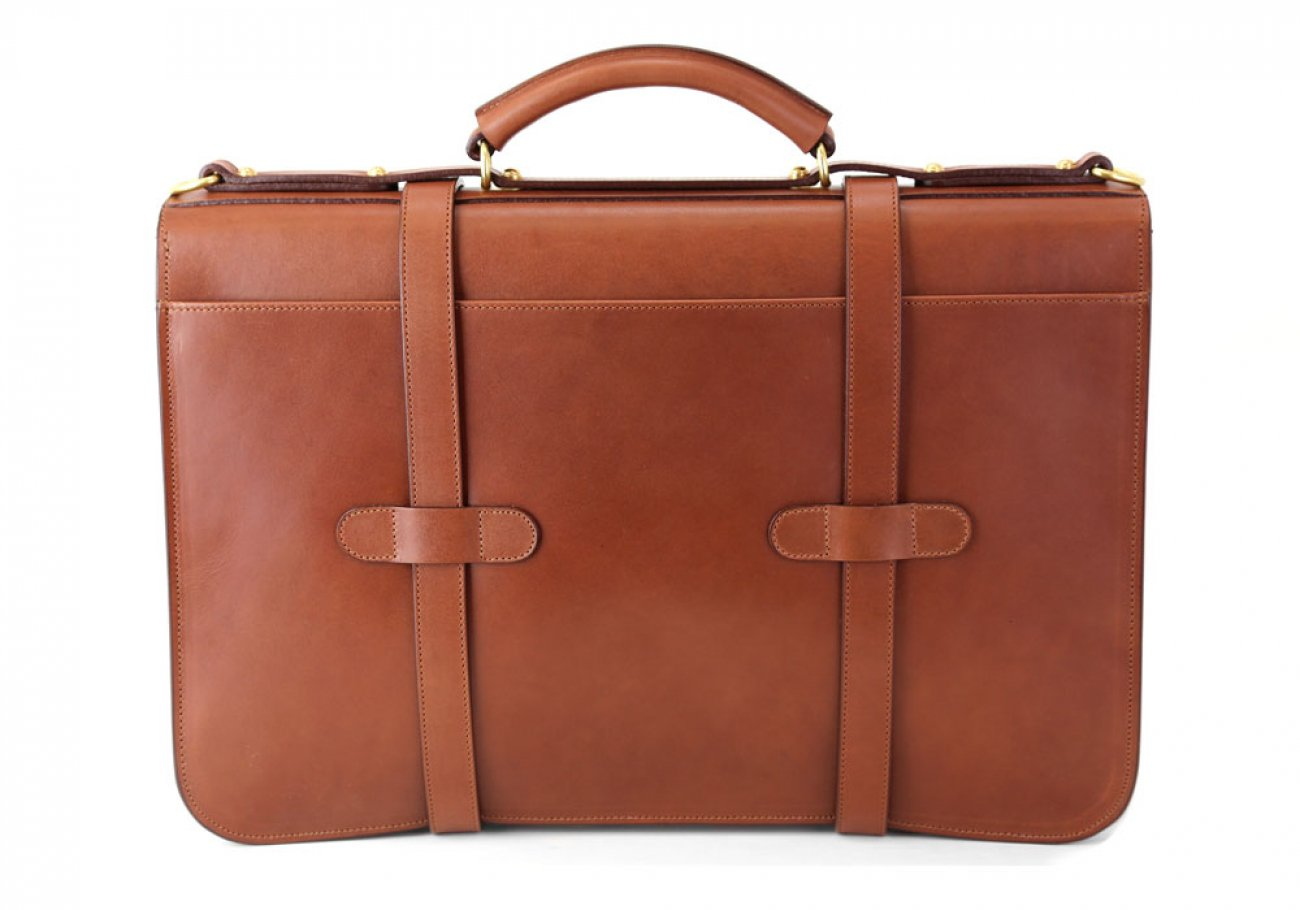Chestnut Harness Belting Leather English Briefcase Frank Clegg Made In Usa 5