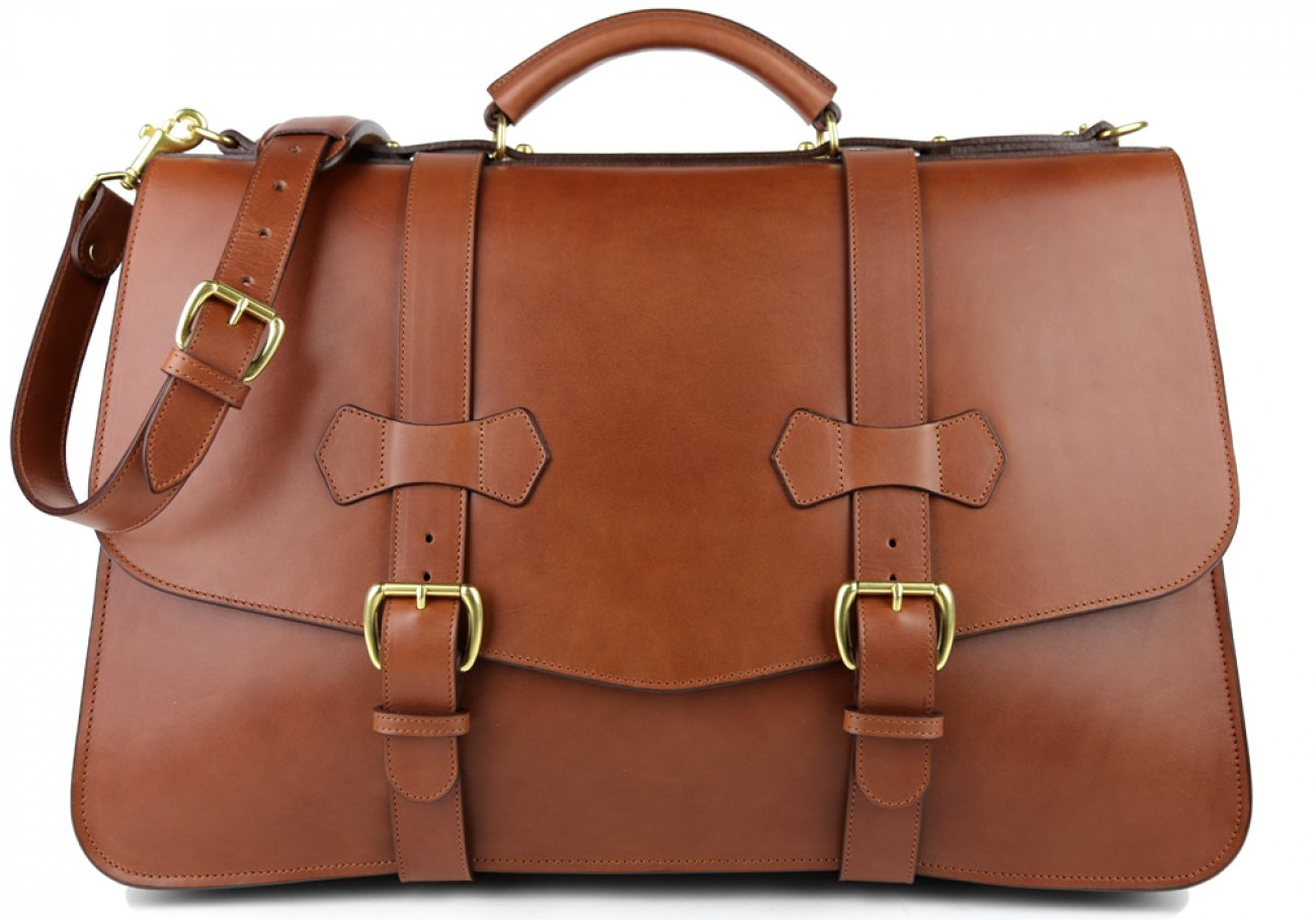 Chestnut Harness Belting Leather Lawyers Briefcase Frank Clegg Made In Usa 1