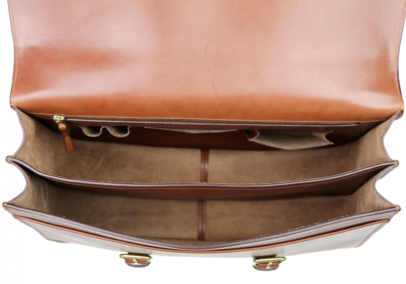Chestnut Harness Belting Leather Lawyers Briefcase Frank Clegg Made In Usa 11 1