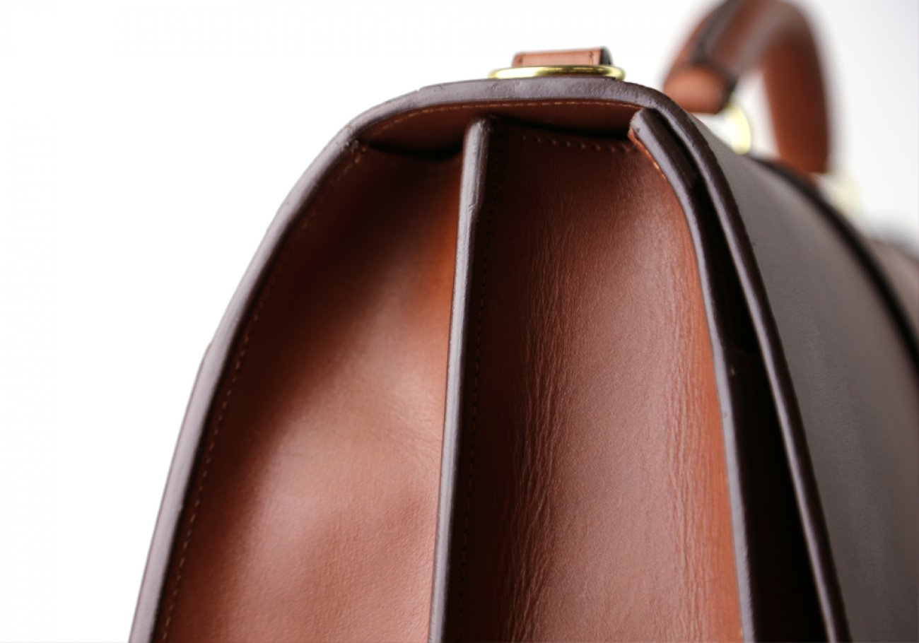 Chestnut Harness Belting Leather Lawyers Briefcase Frank Clegg Made In Usa 12