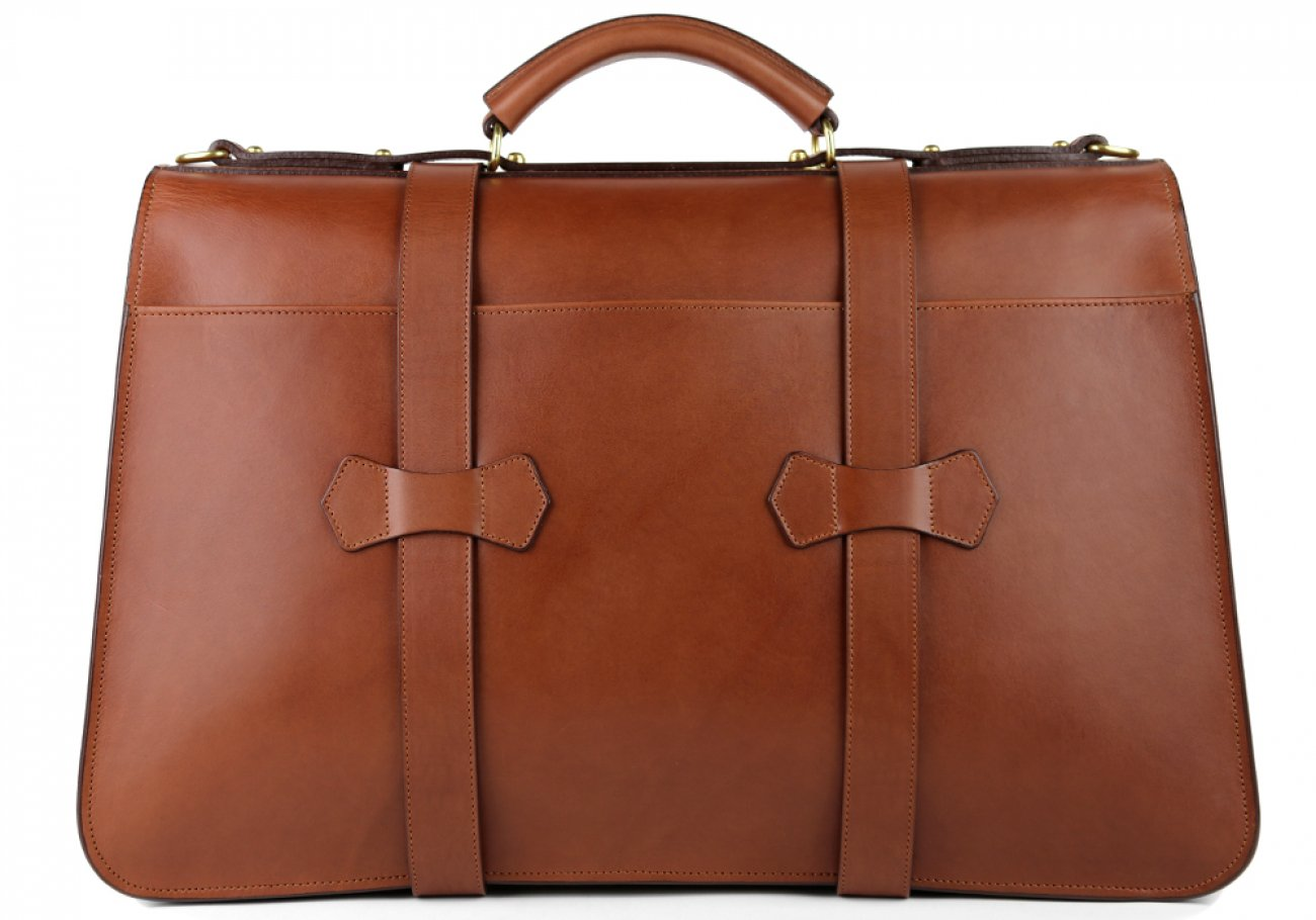 Chestnut Harness Belting Leather Lawyers Briefcase Frank Clegg Made In Usa 6