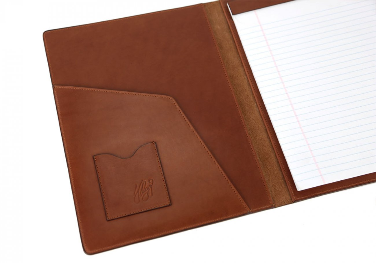 Chestnut Harness Belting Leather Note Pad Frank Clegg Made In Usa 4