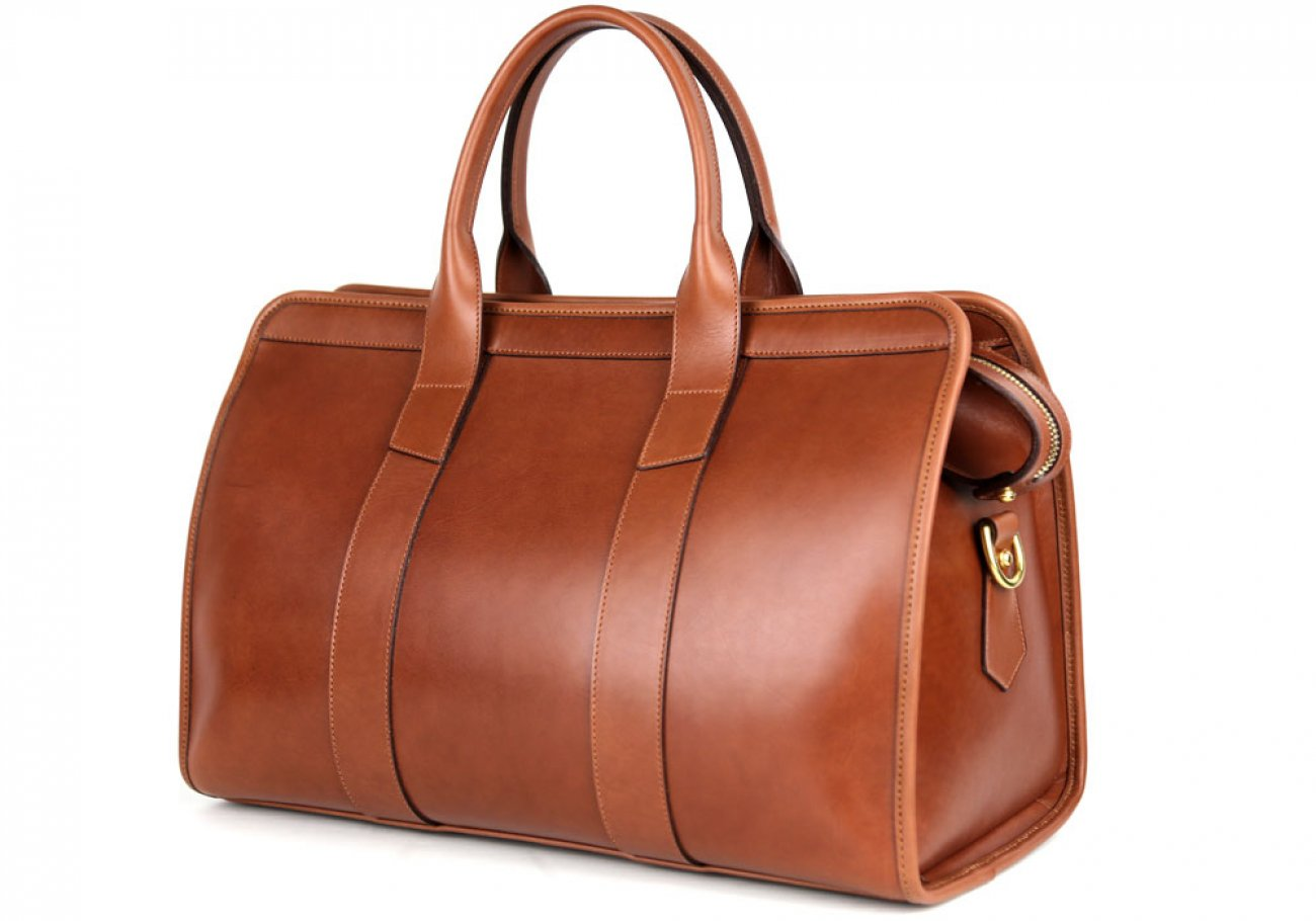 Chestnut Harness Belting Leather Small Duffle Frank Clegg Made In Usa 4 3