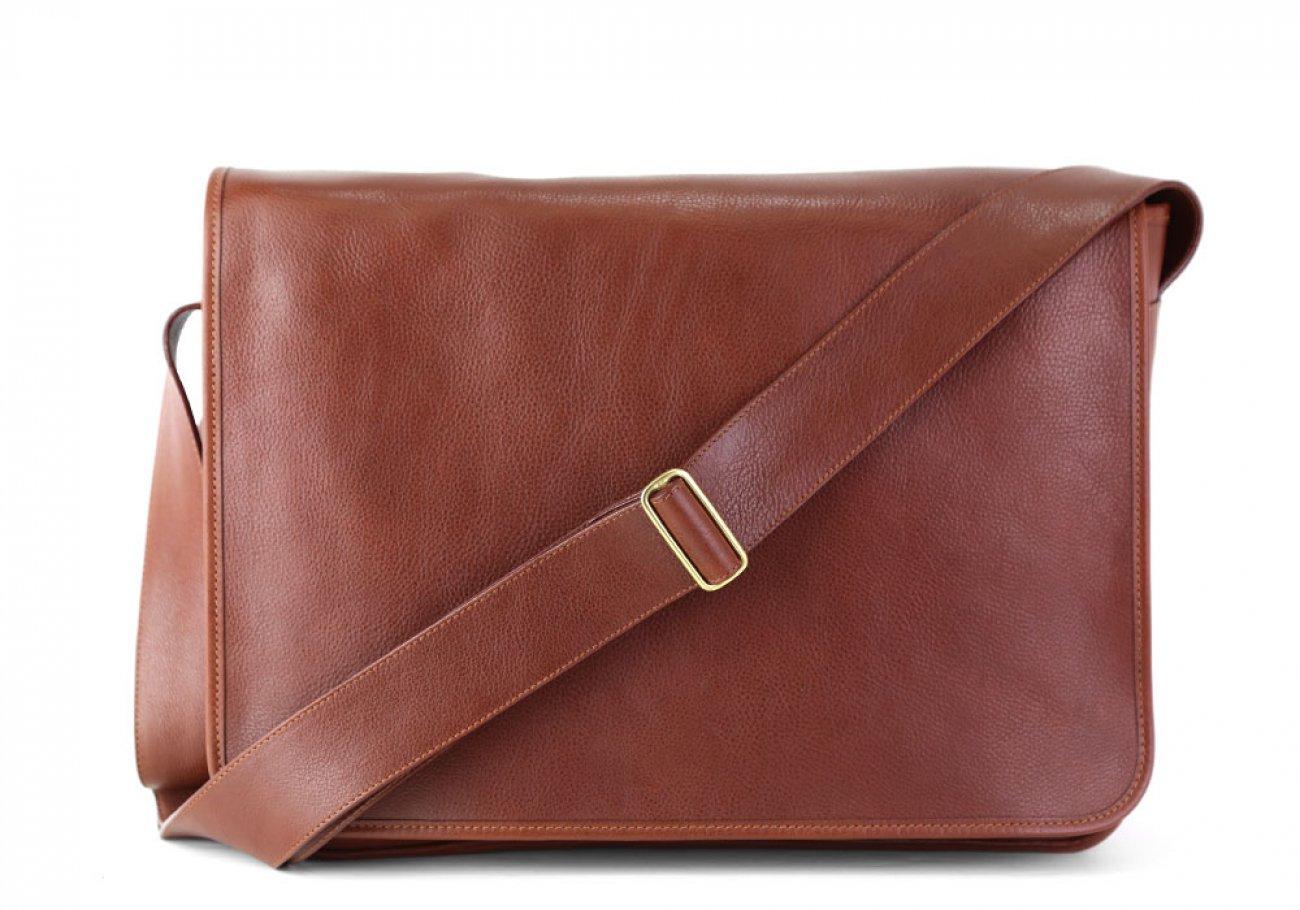 Chestnut Leather  Bound Edge Messenger Bag Frank Clegg Made In Usa 1 1