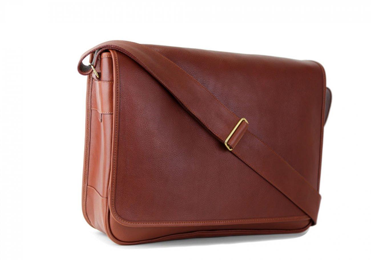 Chestnut Leather  Bound Edge Messenger Bag Frank Clegg Made In Usa 2