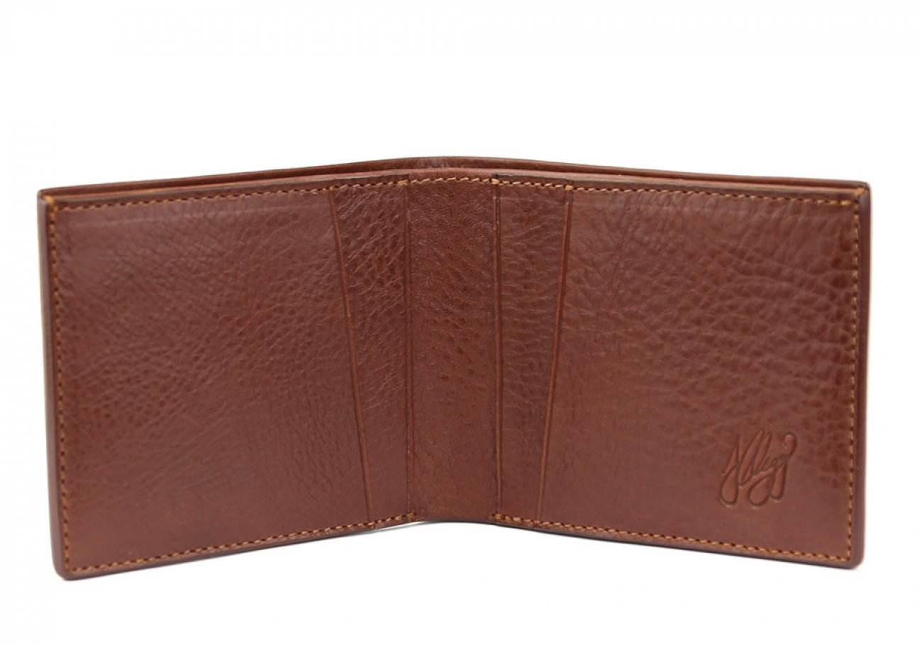 Chestnut Leather Bifold Wallet  Frank Clegg Made In Usa 1