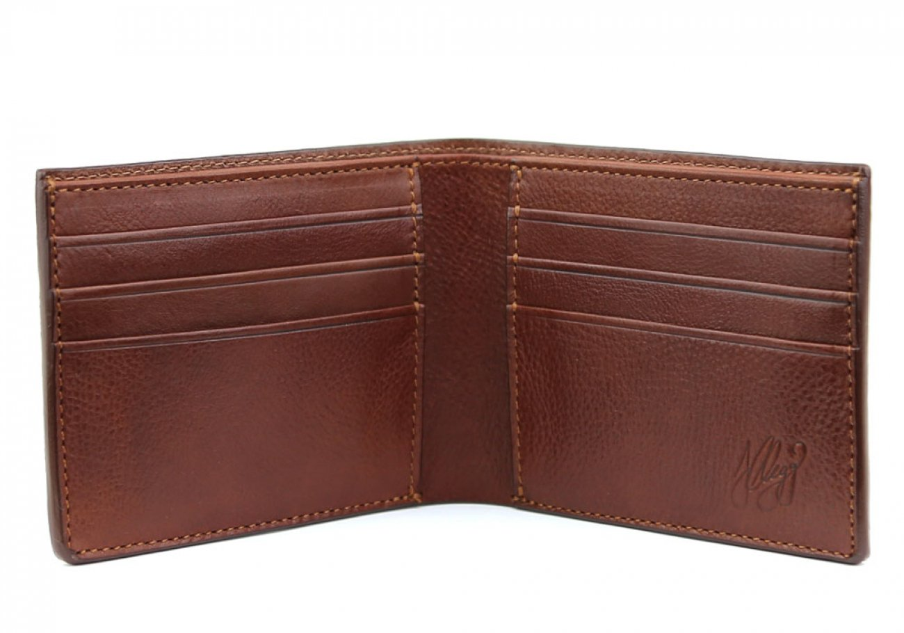 Chestnut Leather Bifold Wallet  Frank Clegg Made In Usa 2 1