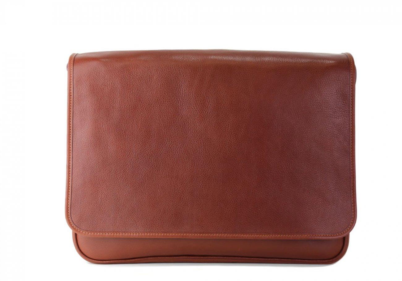 Chestnut Leather Bound Edge Messenger Bag Frank Clegg Made In Usa 4