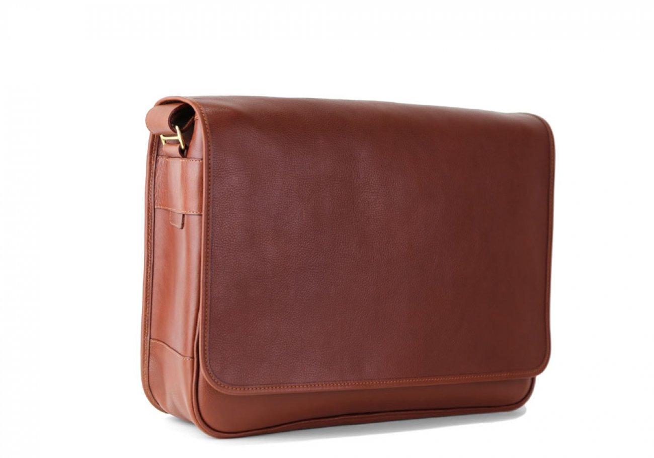 Chestnut Leather Bound Edge Messenger Bag Frank Clegg Made In Usa 5
