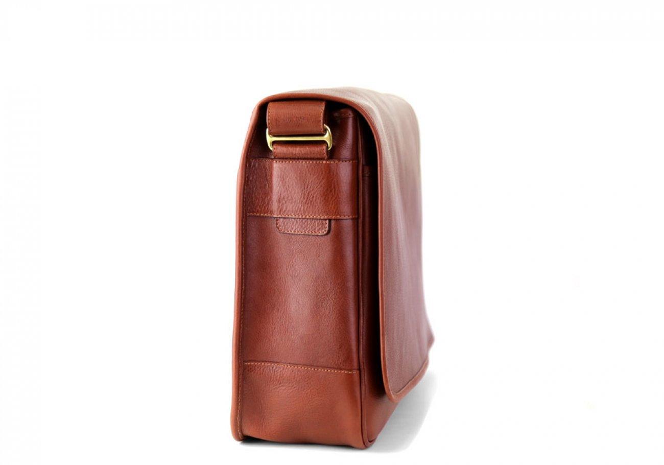 Chestnut Leather Bound Edge Messenger Bag Frank Clegg Made In Usa 6