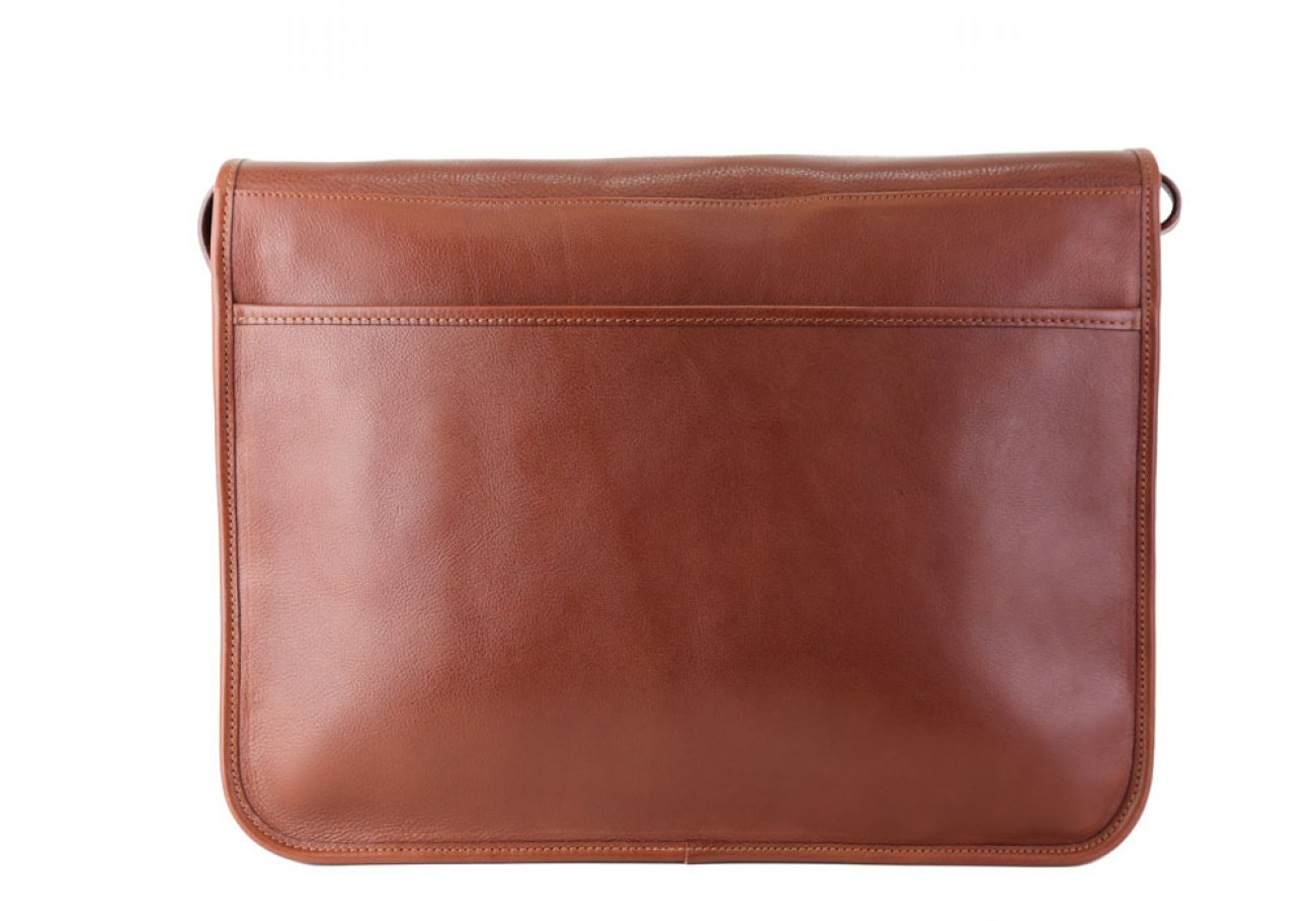 Chestnut Leather Bound Edge Messenger Bag Frank Clegg Made In Usa 7