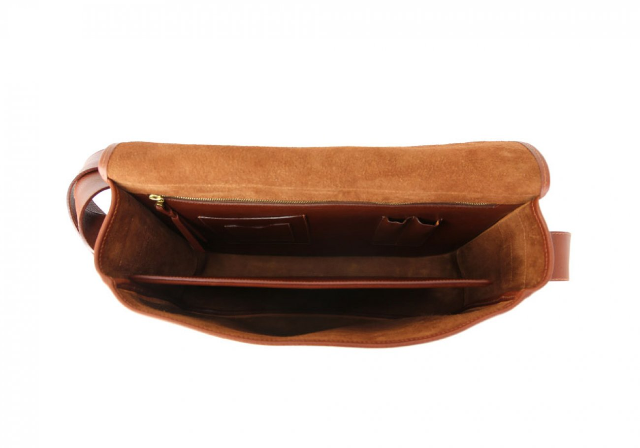 Chestnut Leather Bound Edge Messenger Bag Frank Clegg Made In Usa 8