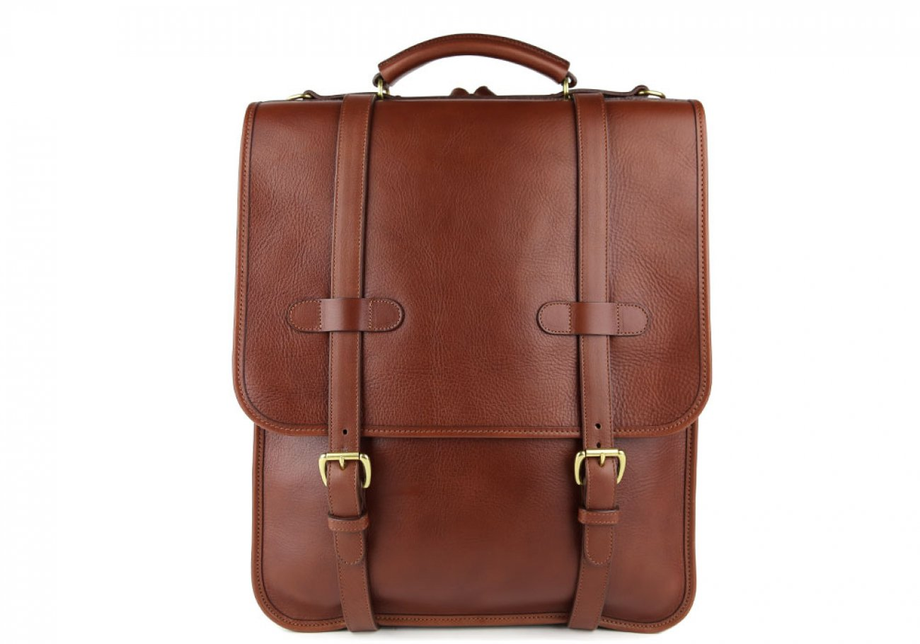Chestnut Leather Buckle Backpack Frank Clegg Made In Usa 1