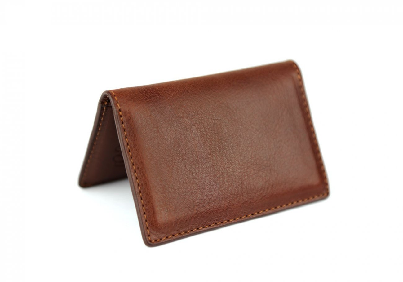 Chestnut Leather Folding Card Wallet Frank Clegg Made In Usa 1