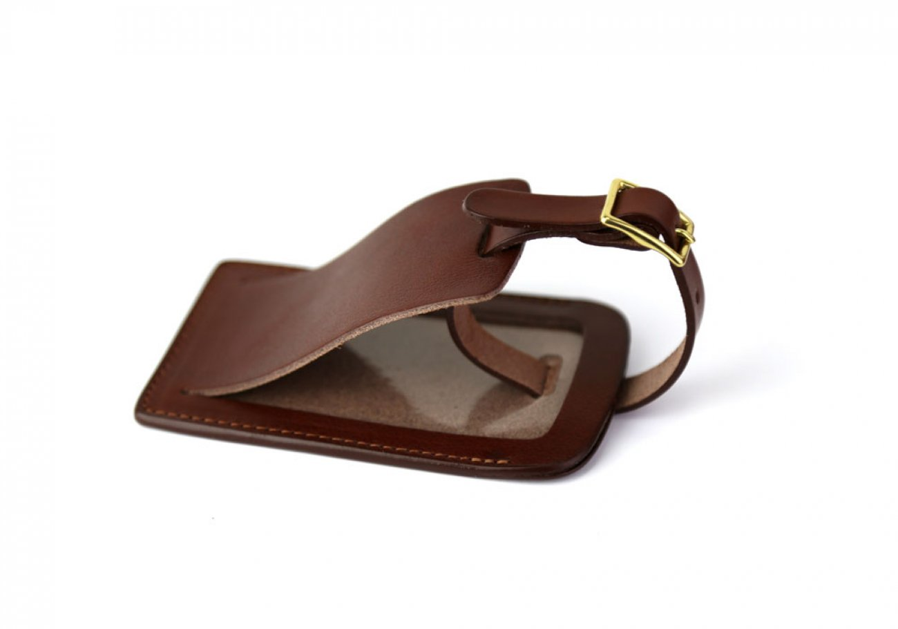 Chestnut Leather Luggage Tag Frank Clegg Made In Usa 1 1