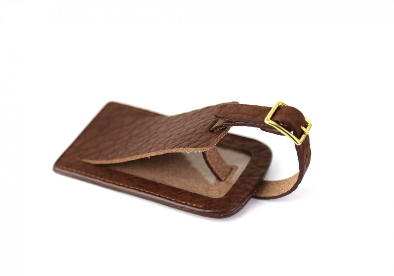 Chestnut Shrunken Leather Luggage Tag Frank Clegg Made In Usa 1