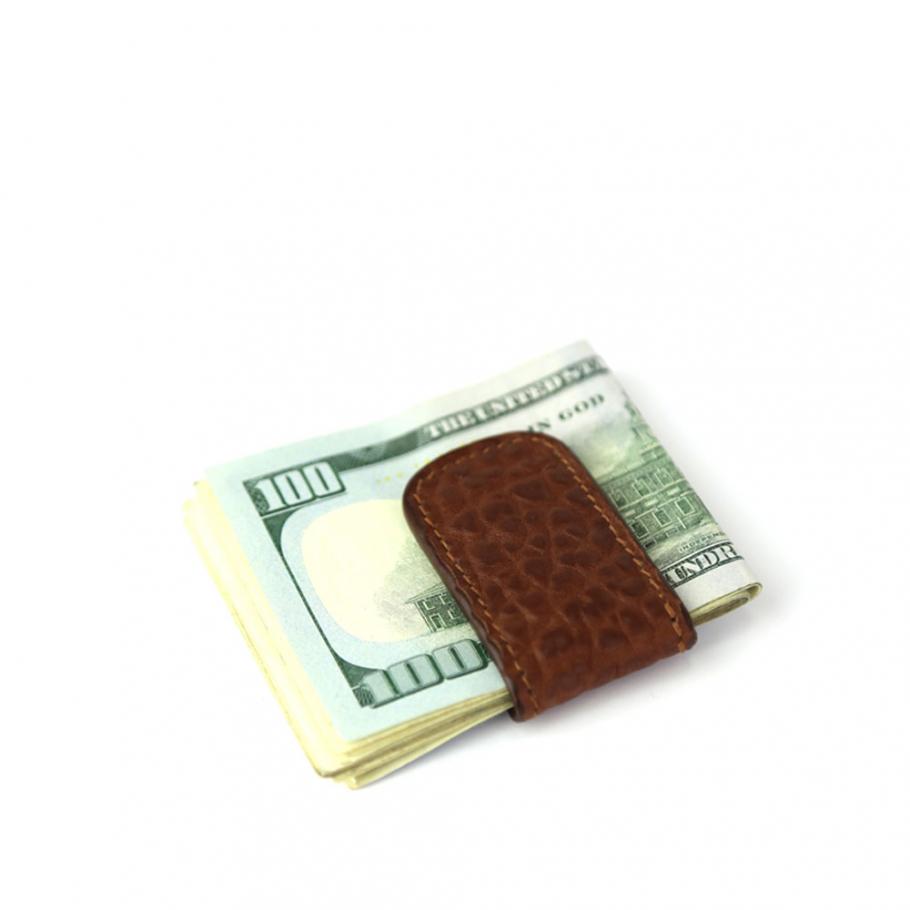 Chestnut Shrunken Leather Money Clip Frank Clegg Made In Usa 1 Raw