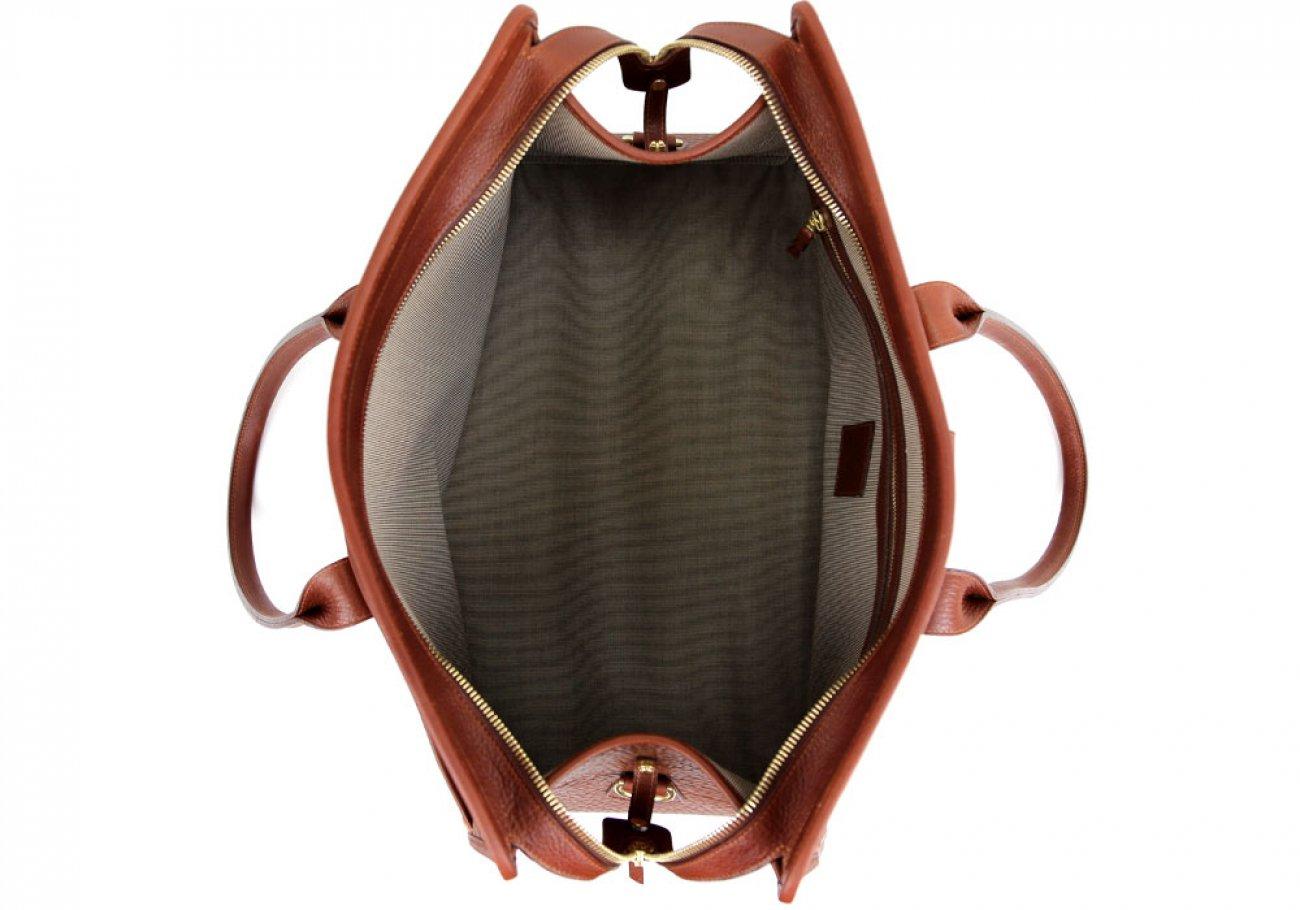 Chestnut Shrunken Leather Troy Duffle Bag Frank Clegg Made In Usa 7 1