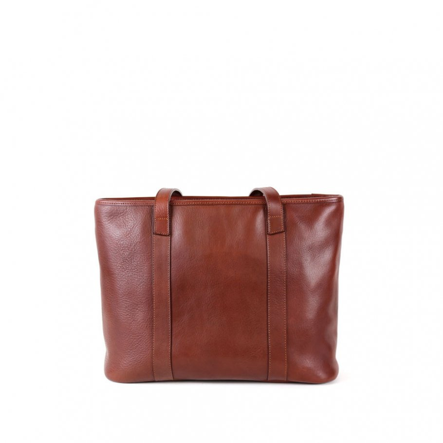 Chestnut Small Handmade Leather Laurlie Ziptop Tote Bag Made In Usa 1 1
