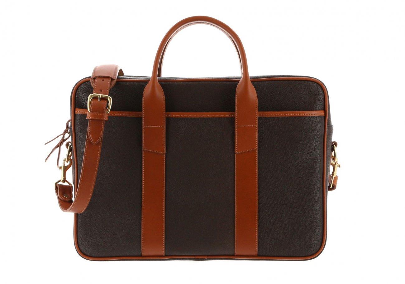 Chevre Goatskin Commuter Briefcase Dark Brown 1