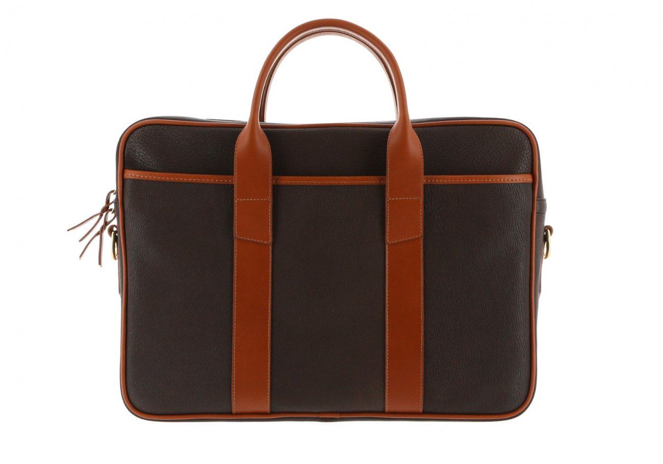 Chevre Goatskin Commuter Briefcase Dark Brown 2