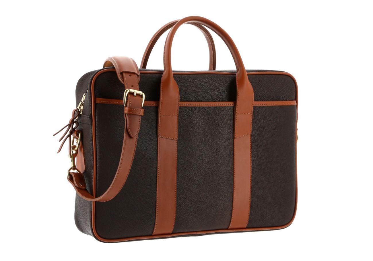 Chevre Goatskin Commuter Briefcase Dark Brown 3