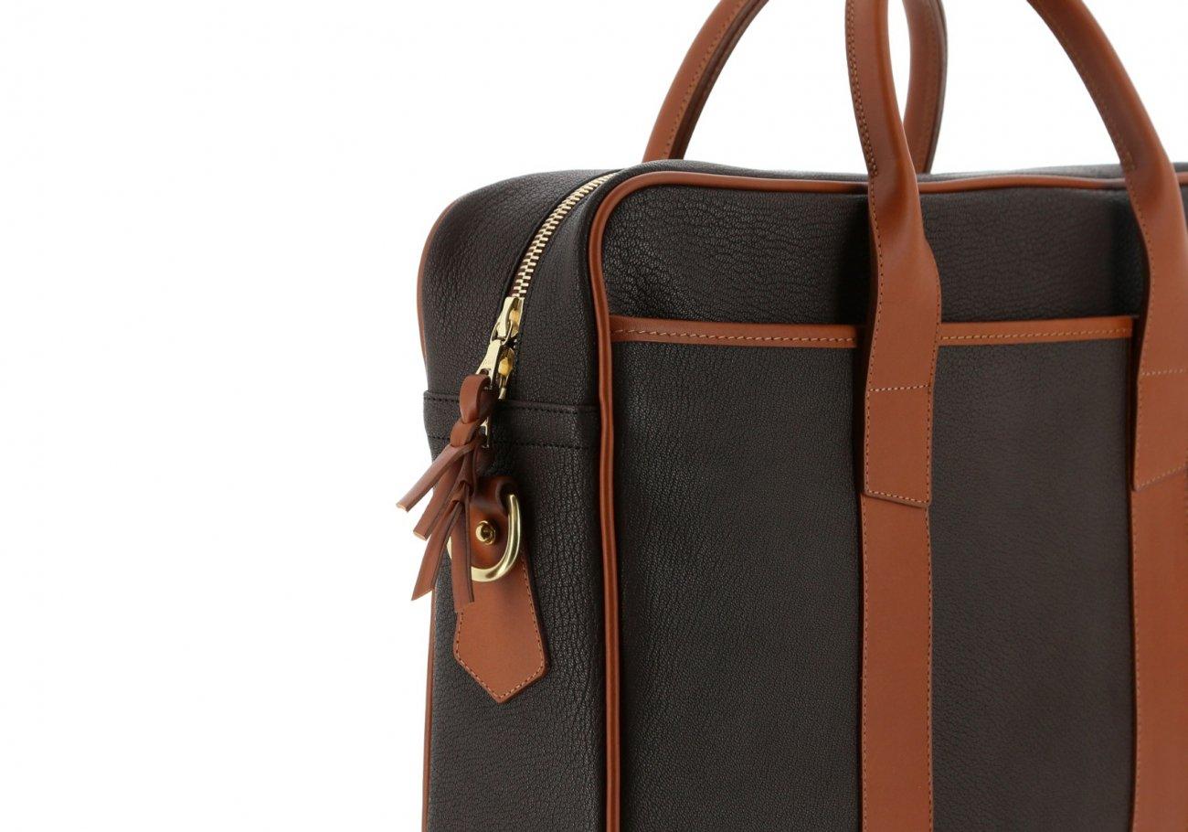 Chevre Goatskin Commuter Briefcase Dark Brown 6