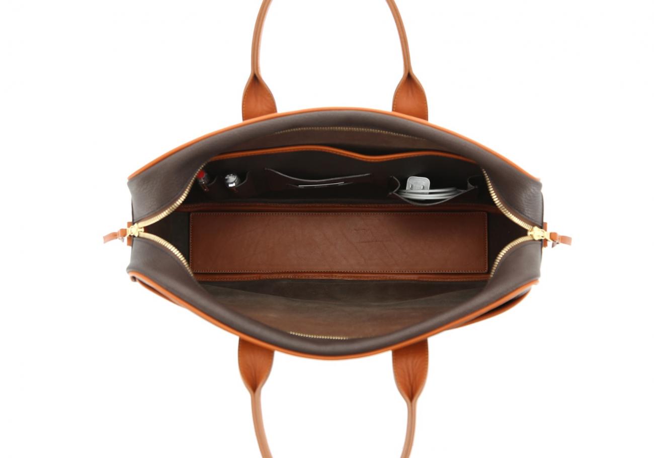 Chevre Goatskin Commuter Briefcase Dark Brown 7