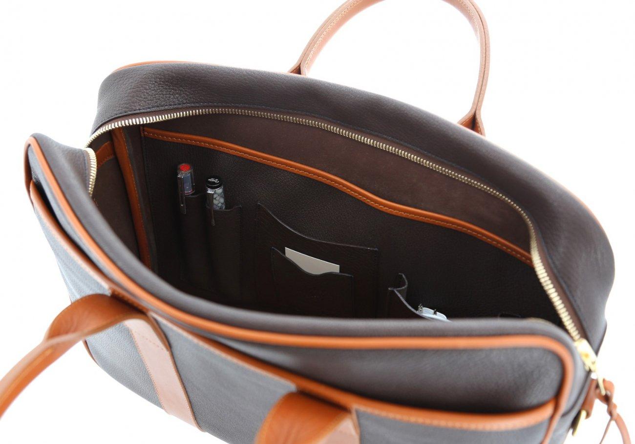 Chevre Goatskin Commuter Briefcase Dark Brown 8