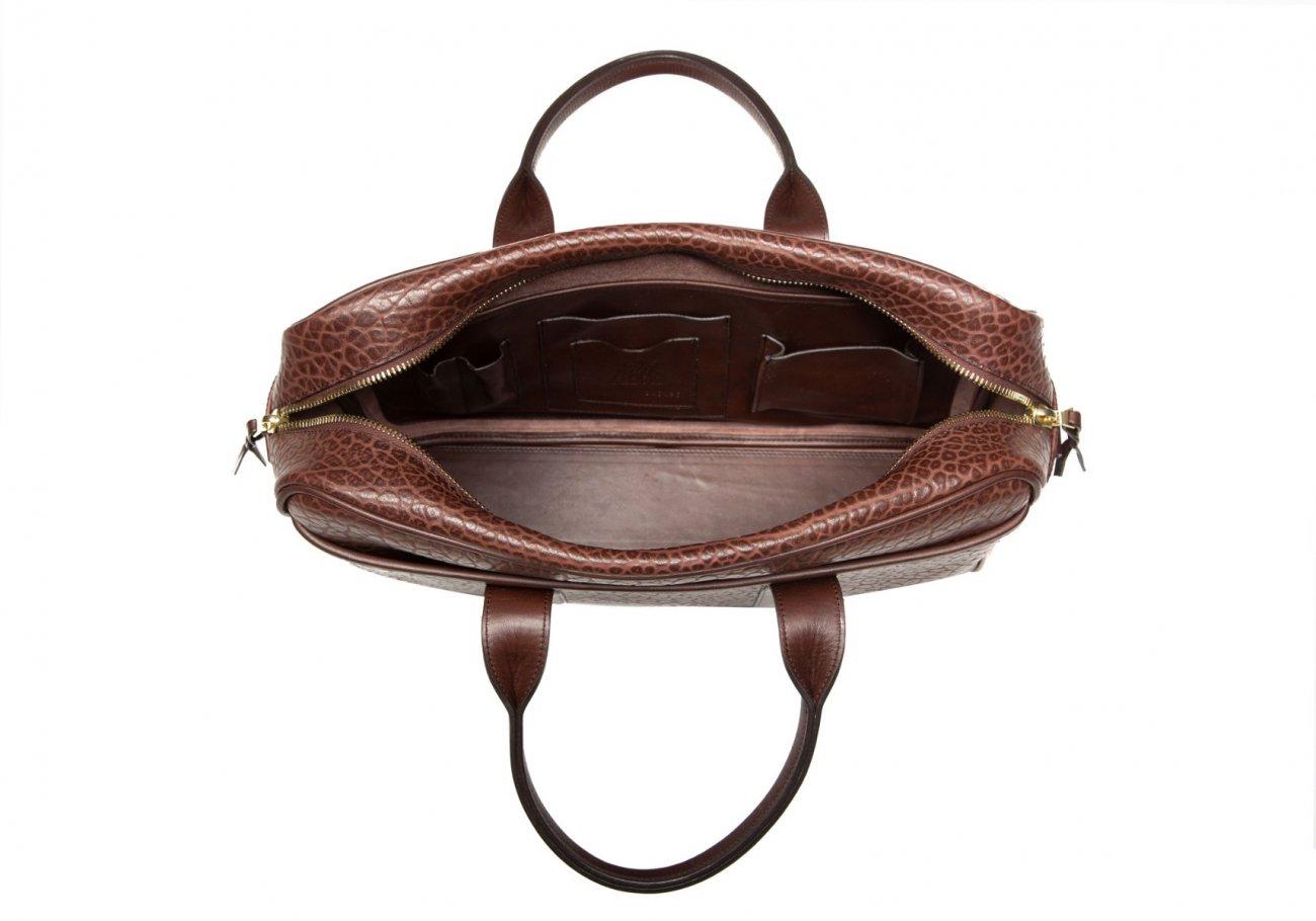 Chocolate Laptop Computer Leather Briefcase Shrunken Grain4
