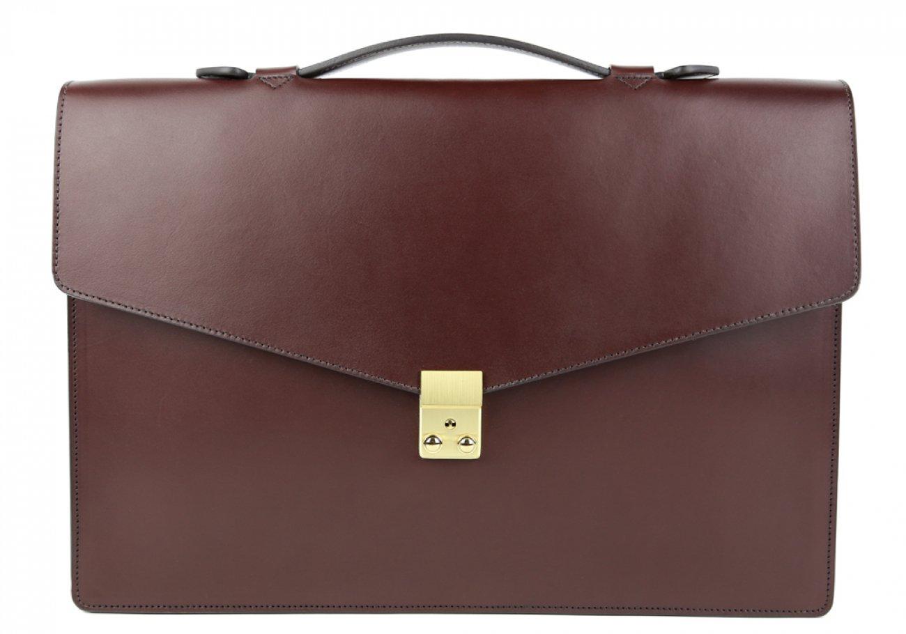 Chocolate Leather Lock Portfolio With Handle 1