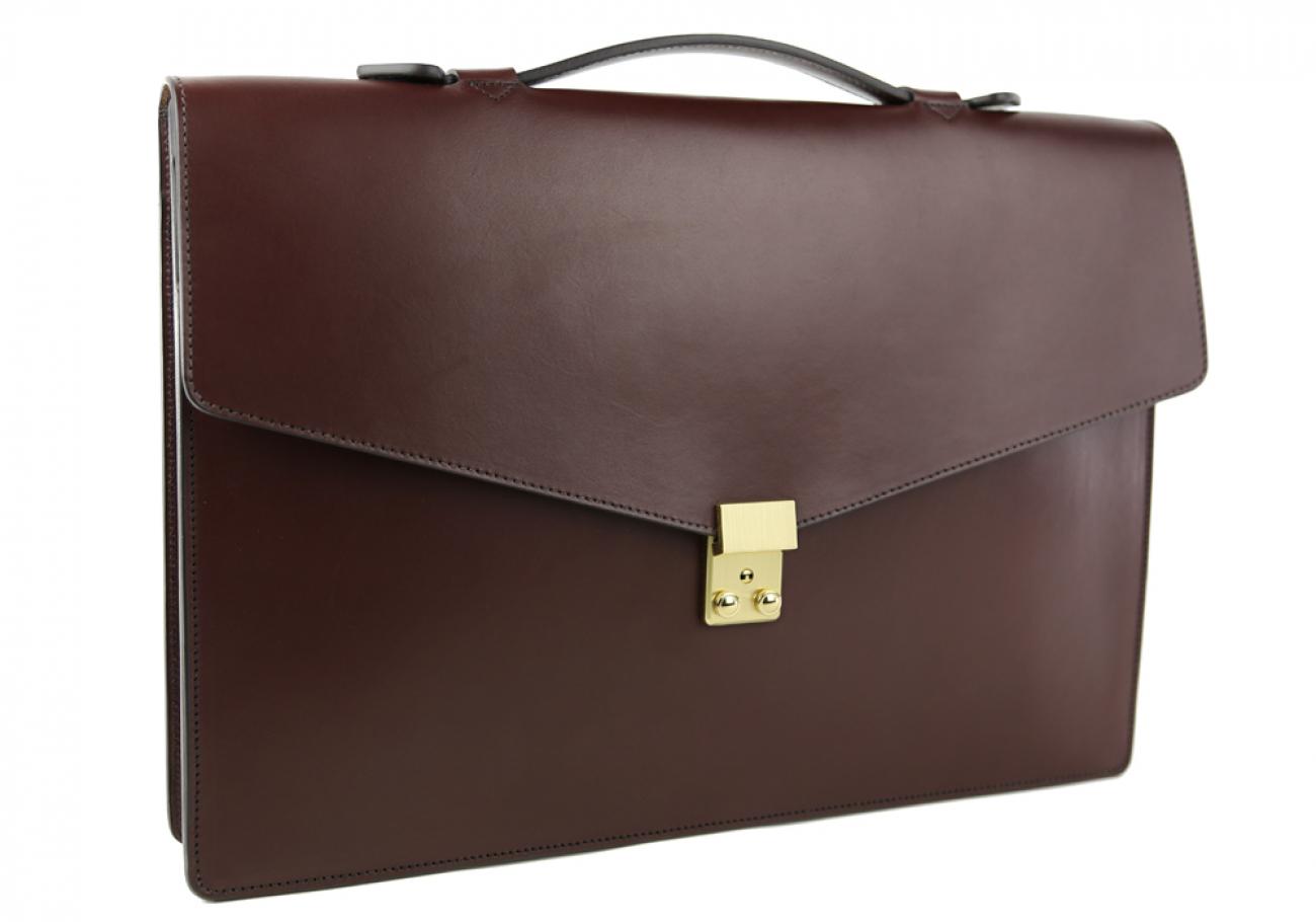 Chocolate Leather Lock Portfolio With Handle 2
