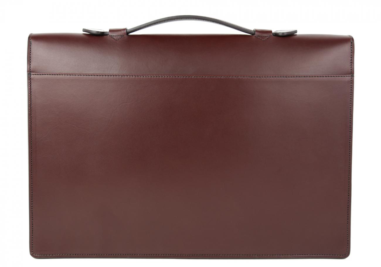 Chocolate Leather Lock Portfolio With Handle 3