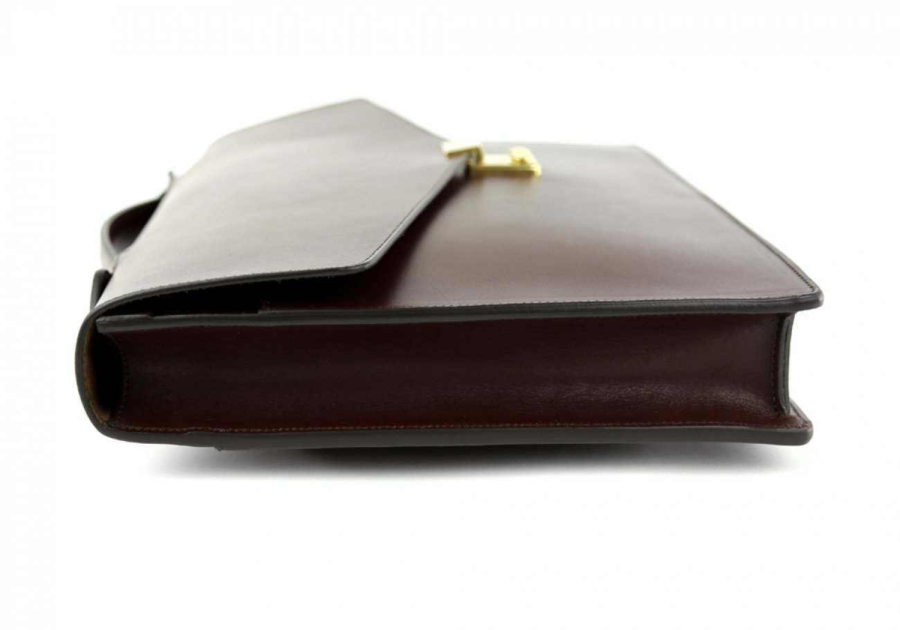 Chocolate Leather Lock Portfolio With Handle 4