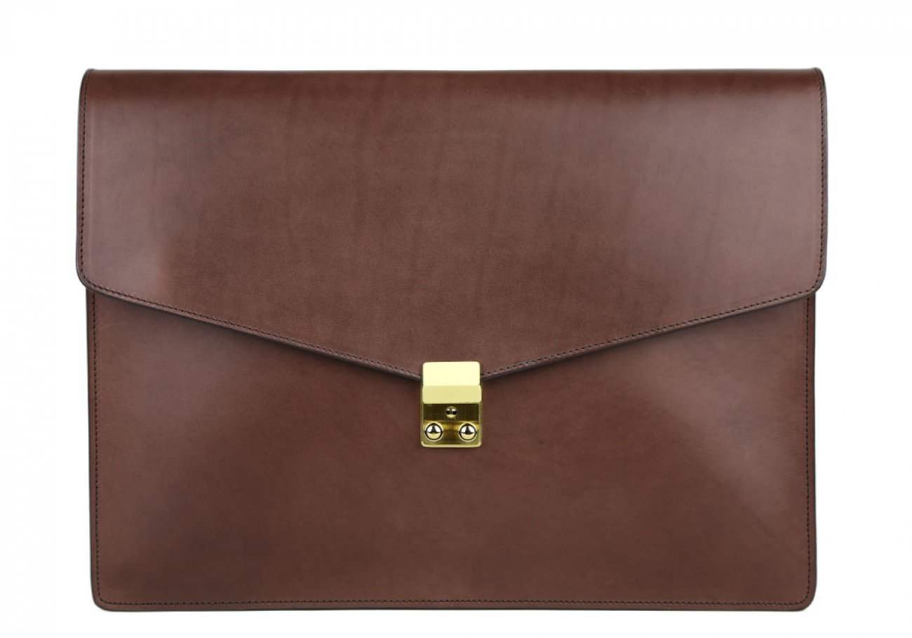Chocolate Harness Belting 15  Leather Lock Portfolio Case Frank Clegg Made In Usa 1