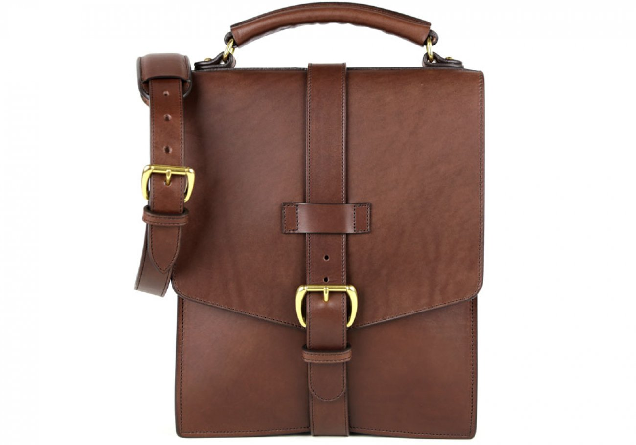 Chocolate Harness Belting Leather Buckle Satchel Frank Clegg Made In Usa 1