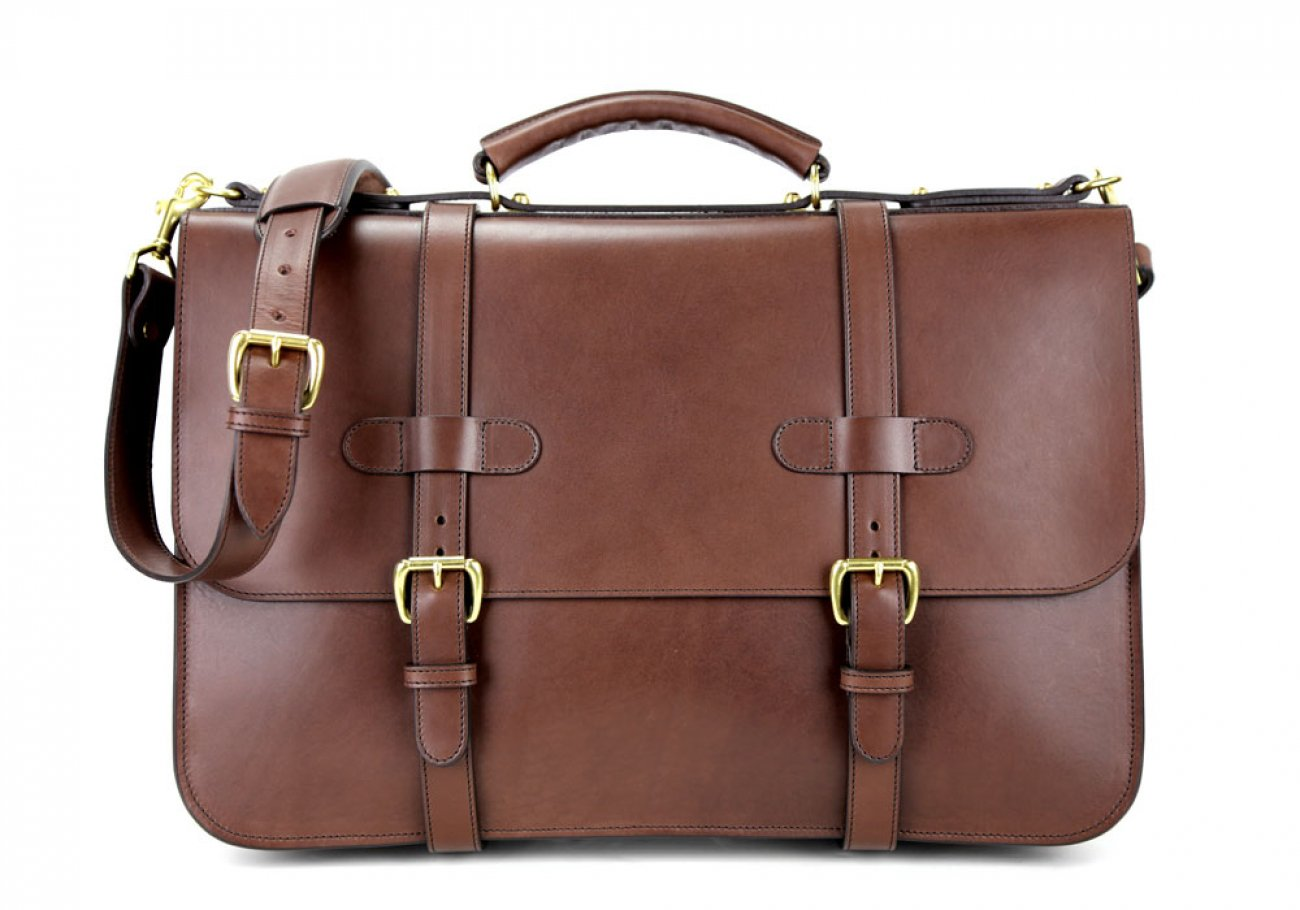 Chocolate Harness Belting Leather English Briefcase Frank Clegg Made In Usa 1 1