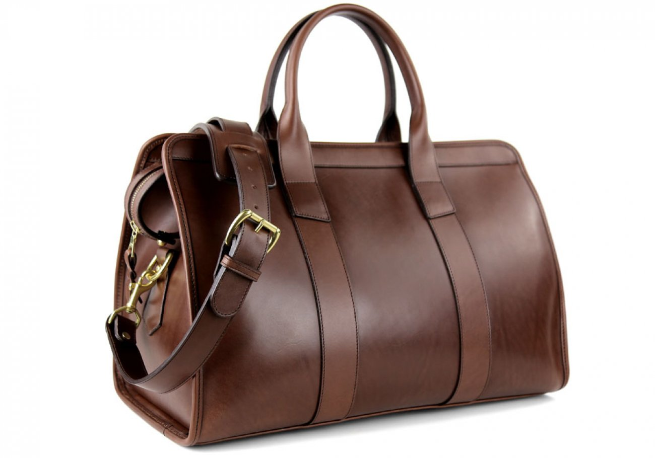 Chocolate Harness Belting Leather Small Duffle Frank Clegg Made In Usa 2 3