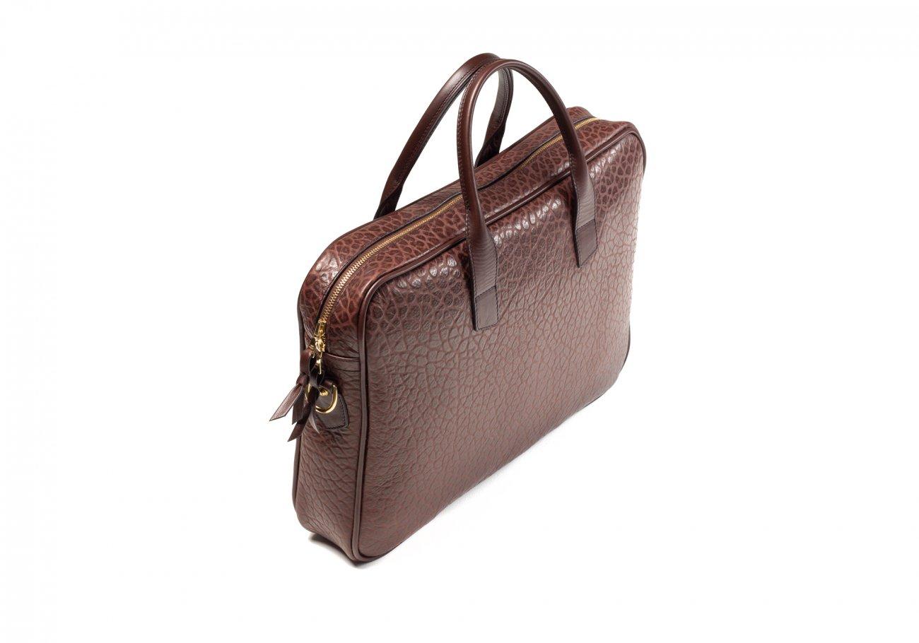 Chocolate Laptop Computer Leather Briefcase Shrunken Grain2 1 1