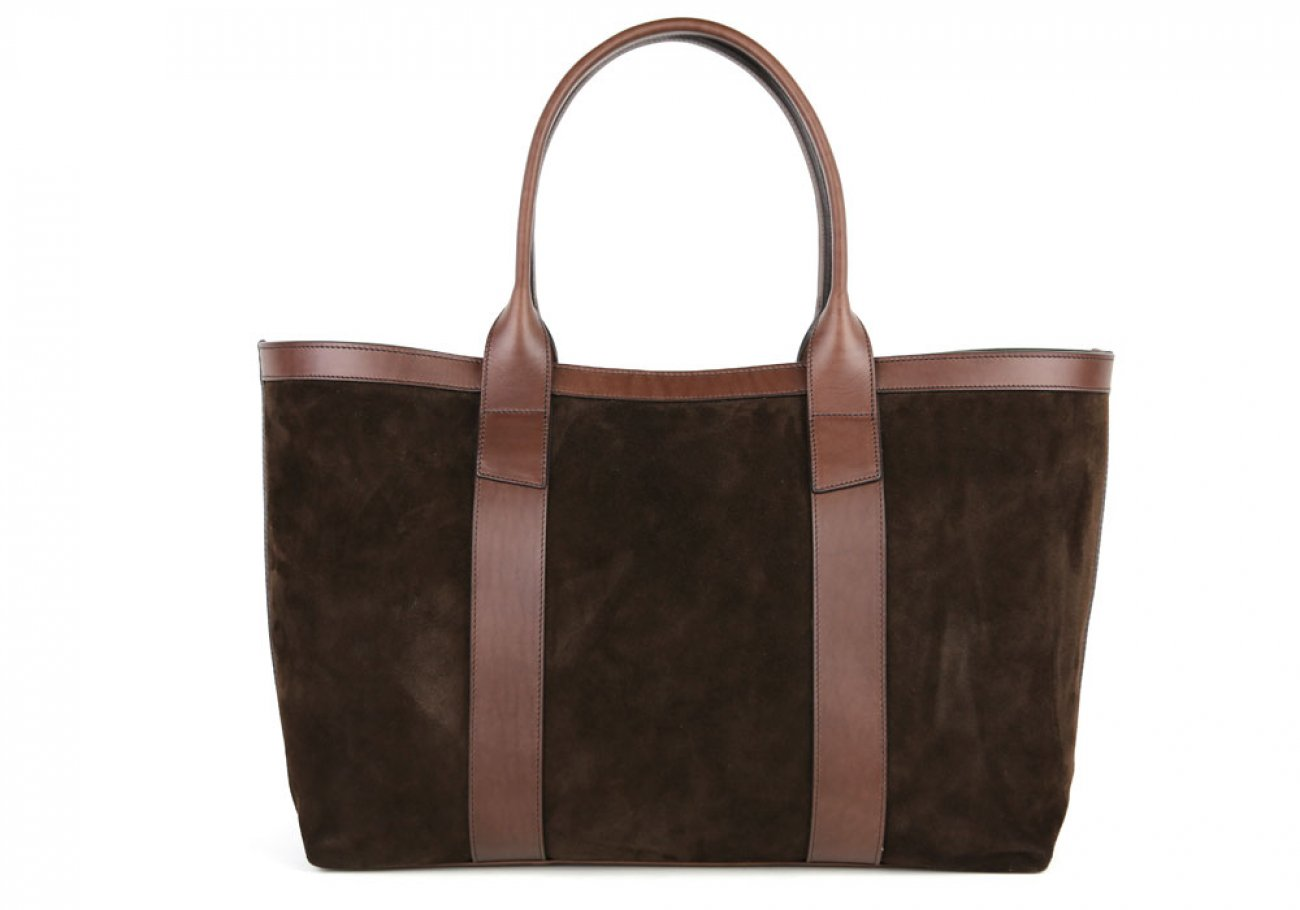 Chocolate Large Suede Tote Made In Usa Frank Clegg 1