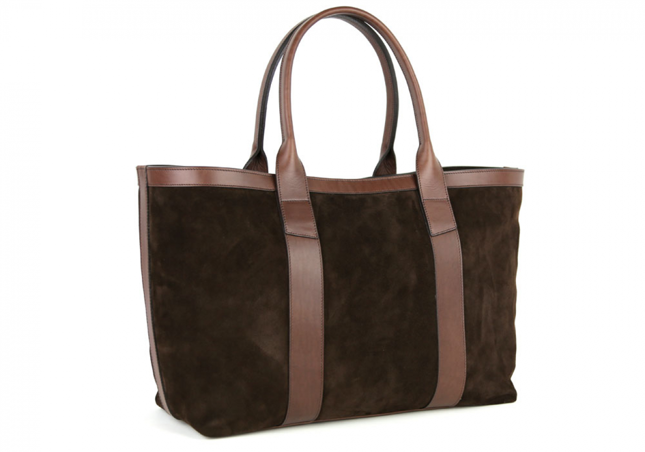 Chocolate Large Suede Tote Made In Usa Frank Clegg 2