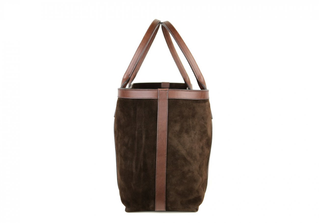 Chocolate Large Suede Tote Made In Usa Frank Clegg 3