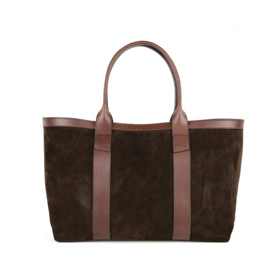 Chocolate Large Suede Tote Made In Usa Frank Clegg Final