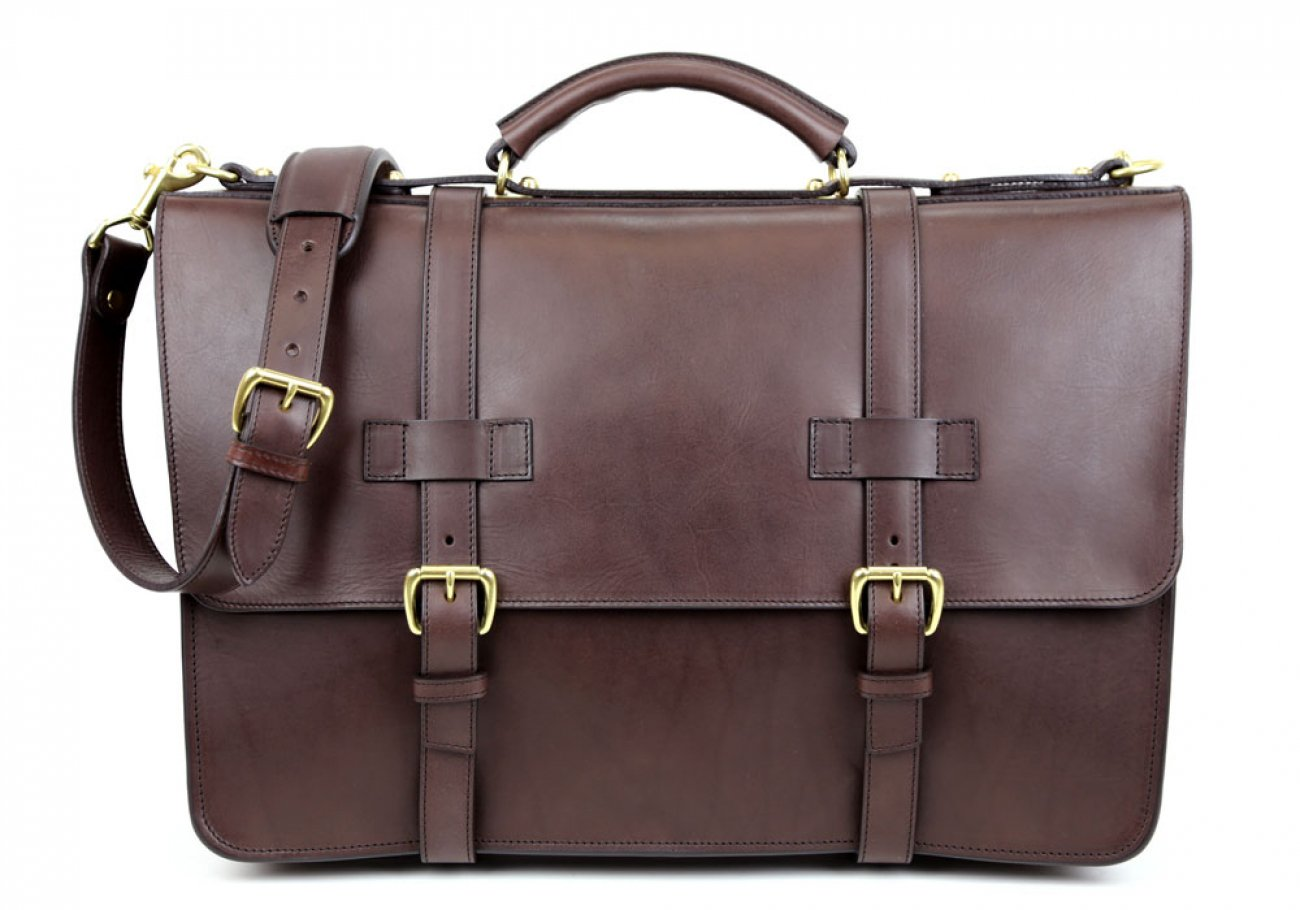 Chocolate Leather American Briefcase Frank Clegg Made In Usa 1