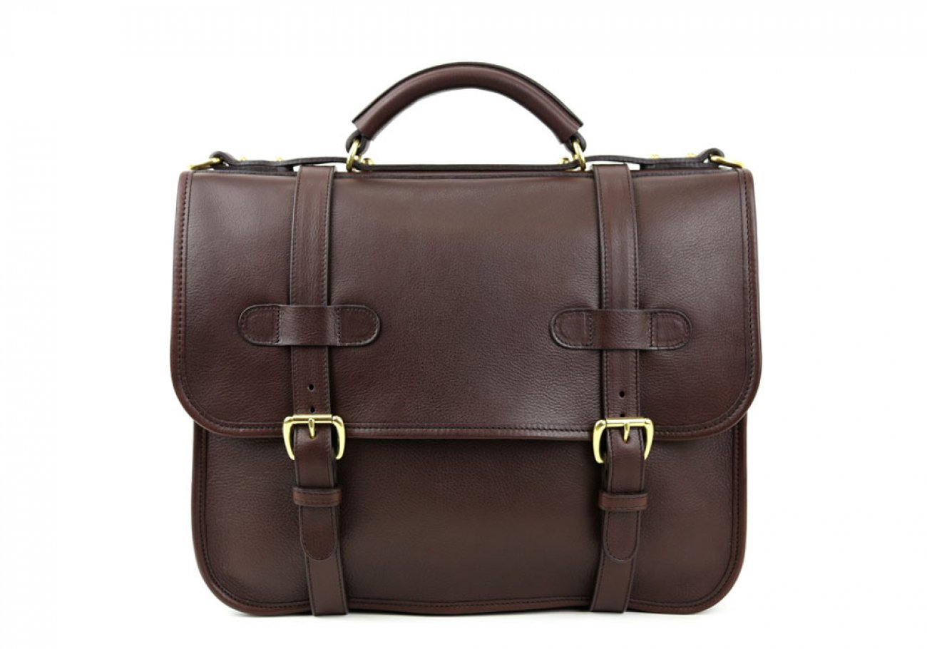 Chocolate Leather Bound Edge English Satchel Frank Clegg Made In Usa 1