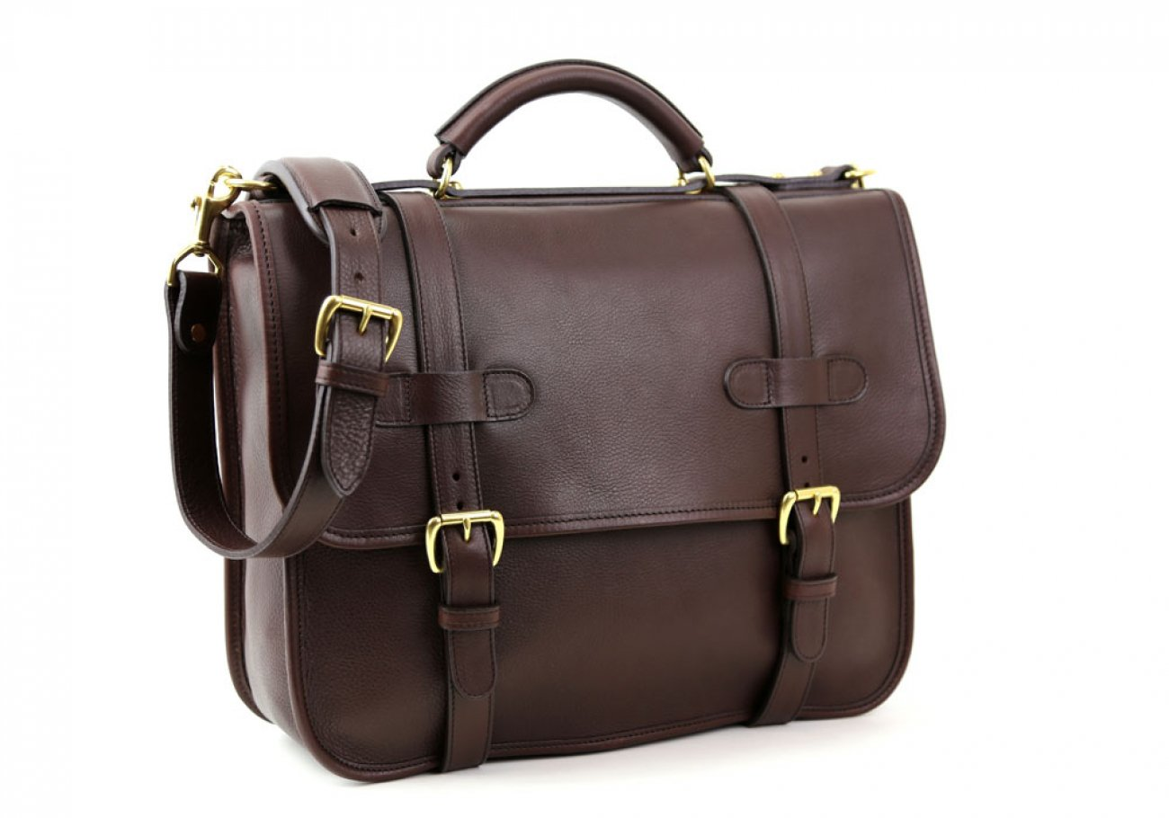 Chocolate Leather Bound Edge English Satchel Frank Clegg Made In Usa 2