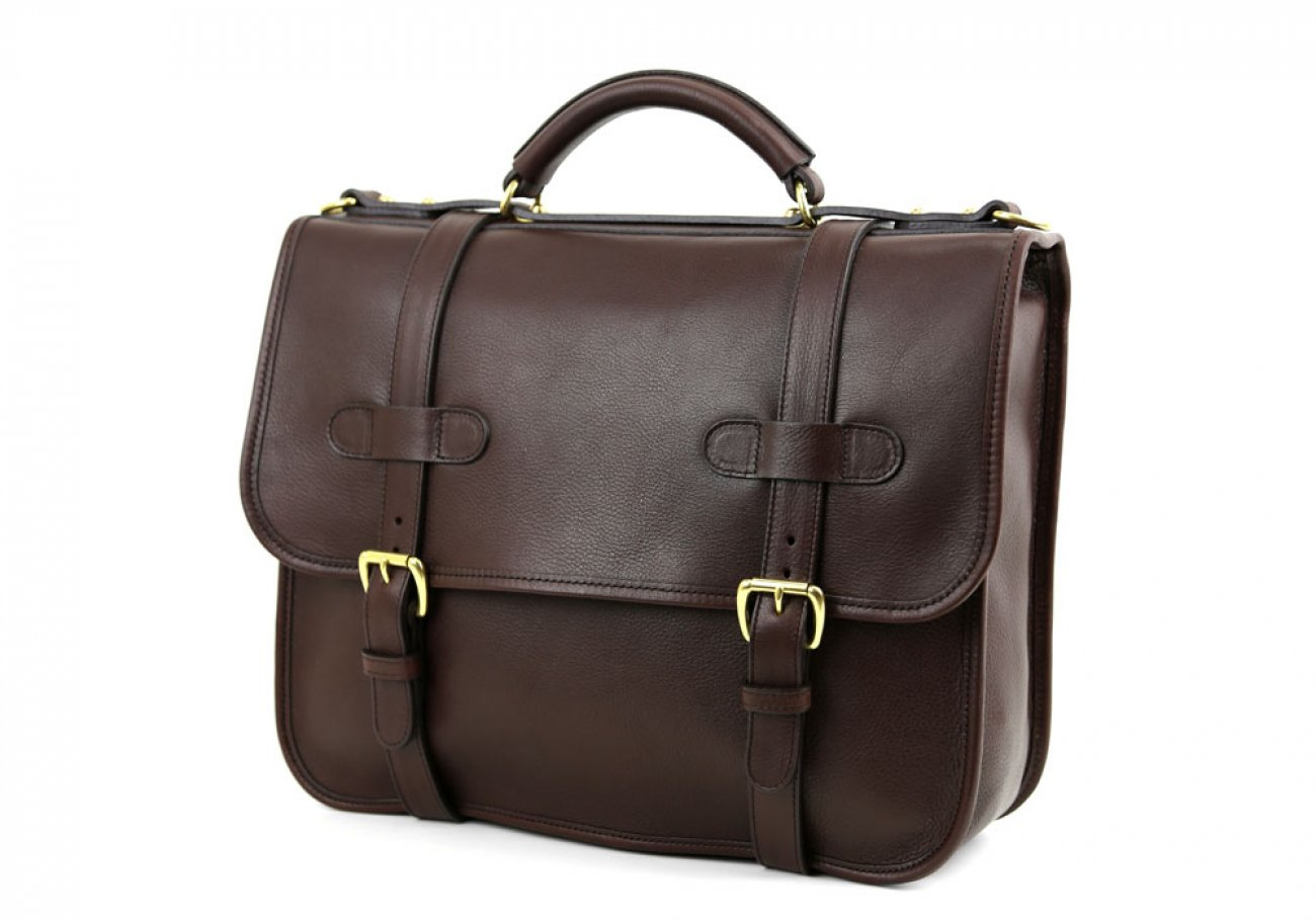 Chocolate Leather Bound Edge English Satchel Frank Clegg Made In Usa 3