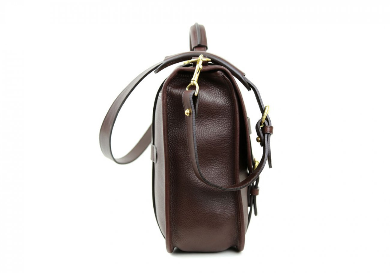 Chocolate Leather Bound Edge English Satchel Frank Clegg Made In Usa 4